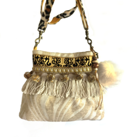 Bucket bag bohemian style cream with pompons