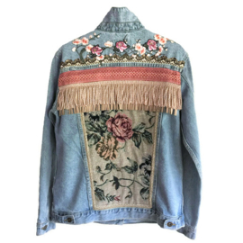 Embellished denim jacket with roses vintage style