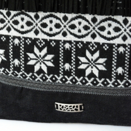Nordic crossbody bag black white fringes