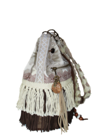 Bohemian bucket bag brown taupe with fringe