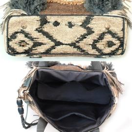 Tote handbag western style beige grey with fringes