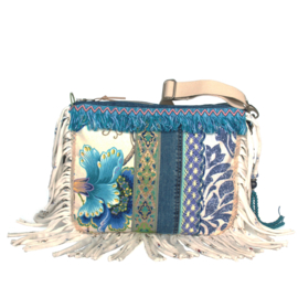 Boho crossbody blue and white with fringe