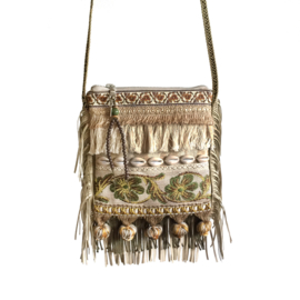 Boho festival purse in beige green with shells