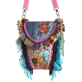 Ibiza crossbody colored with flower patch and fringes