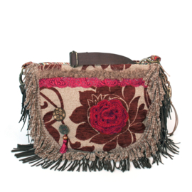 Hippie crossbody bohemian red brown with flower and fringe