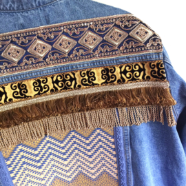 Embellished denim jacket with yellow gold boho style