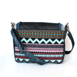 Crossbody in Aztec style blue with fringes and flower