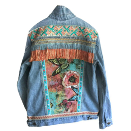 Embellished denim jacket with flowers butterfly in orange turquoise