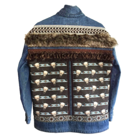 Embellished denim jacket bull heads with fake fur