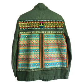 Embellished denim jacket khaki colored Aztec