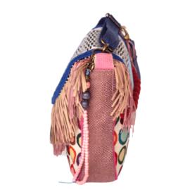 Schoudertas hippie gekleurd retro stijl met franje