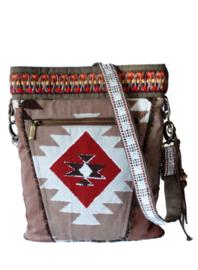 Schoudertas Navajo stijl rood bruin met franje