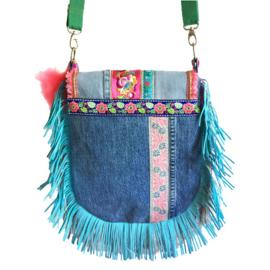 Boho crossbody bag multi colored Ibiza style fringed