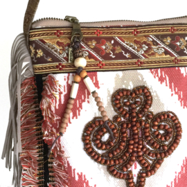 Festival bag Navajo style with bead patch brown