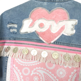 Embellished denim jacket in blue pink with coins and love patch