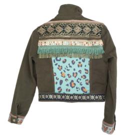 Khaki denim jacket boho style embellished with fringe and trims