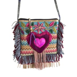 Festival bag with heart Ibiza style fuchsia blue