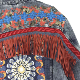 Embellished denim jacket boho orange blue with fringe