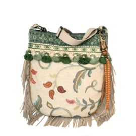 Hippie crossbody bag cream green with fringe