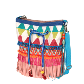Ibiza bucket bag pink turquoise with fringes
