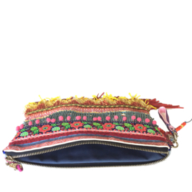 Ibiza clutch multi colored with fringes