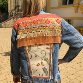 Embellished denim jacket orange peach flowers
