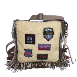Crossbody bohemian teddy fur with patches and fringe