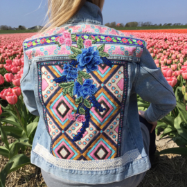 Embellished denim jacket Ibiza style in blue and pink