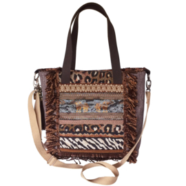 African tote handbag with elephants and leopard