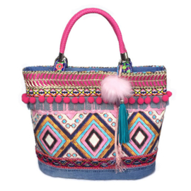 Ibiza tote handbag in pink blue with pompons