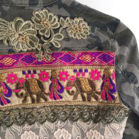 Embellished denim jacket camouflage with elephants