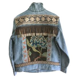Embellished denim jacket bohemian with flower and fringe