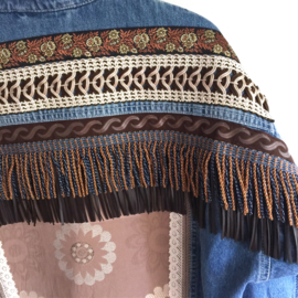 Embellished denim jacket boho western style with fringe