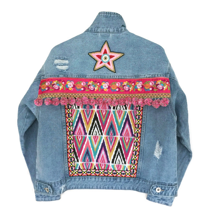 Embellished denim jacket Ibiza with star and pompons