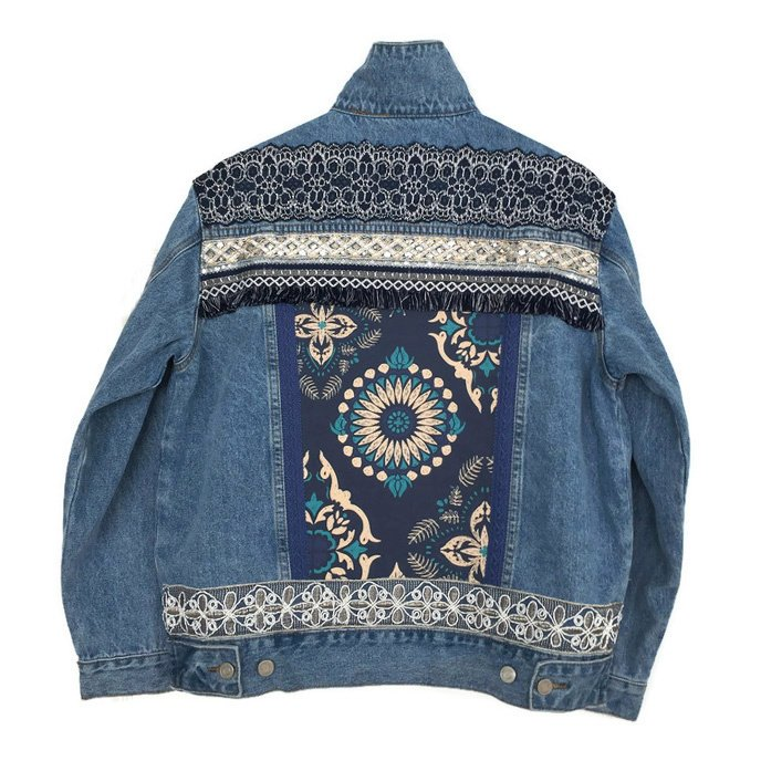 Embellished denim jacket blue with ornaments and wide trims