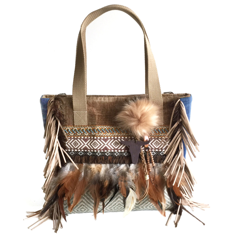 Tote handbag brown Navajo with feathers and fringes