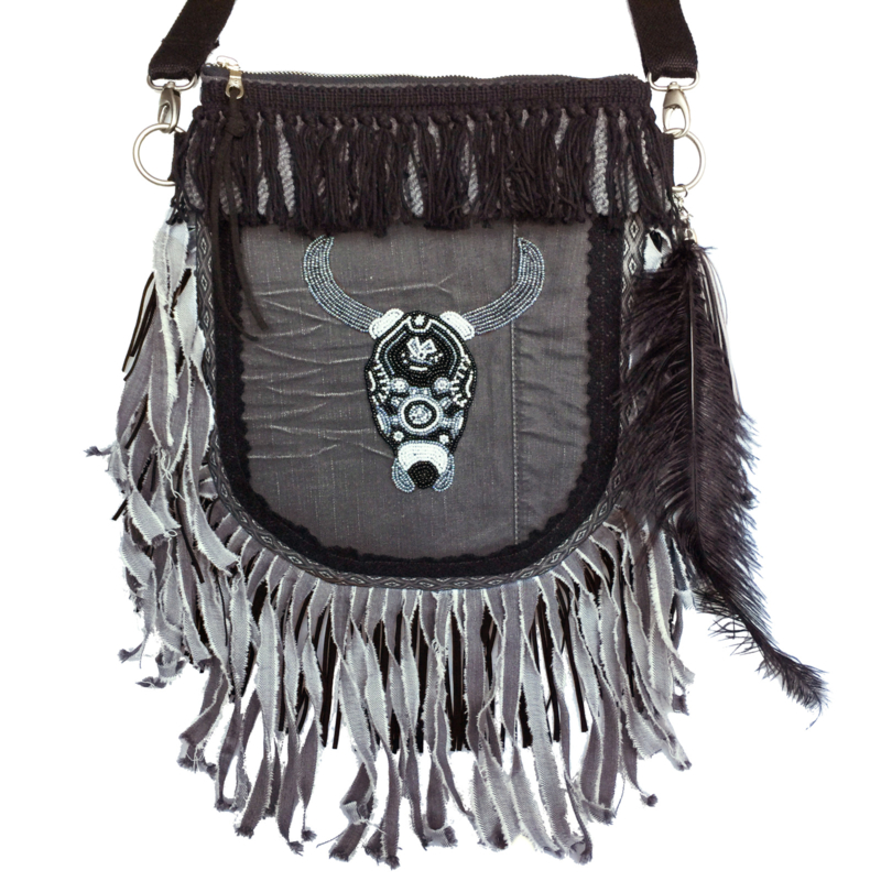 Crossbody bohemian buffalo head with long denim fringes