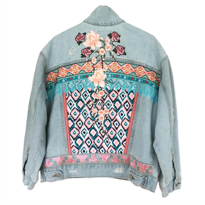 Embellished denim jacket Ibiza pastel flower power