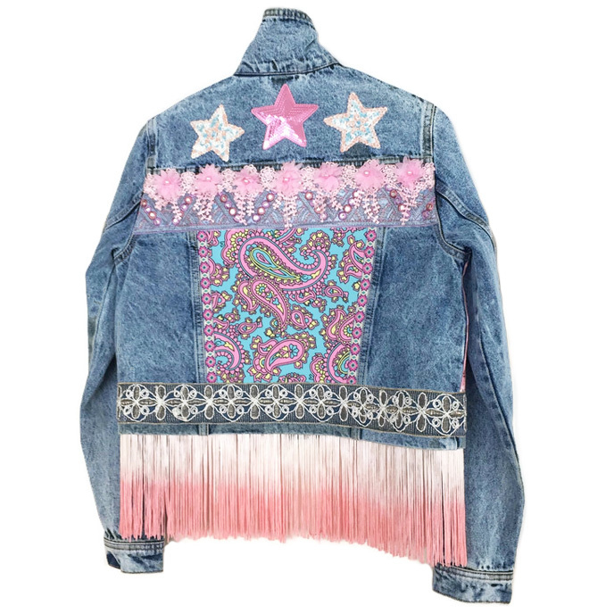 Ibiza denim jacket with pink embellishments stars and long fringe