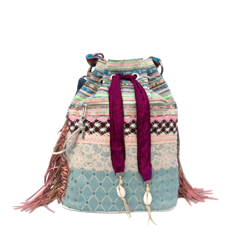 Bucket bag pastels in Ibiza style with fringes