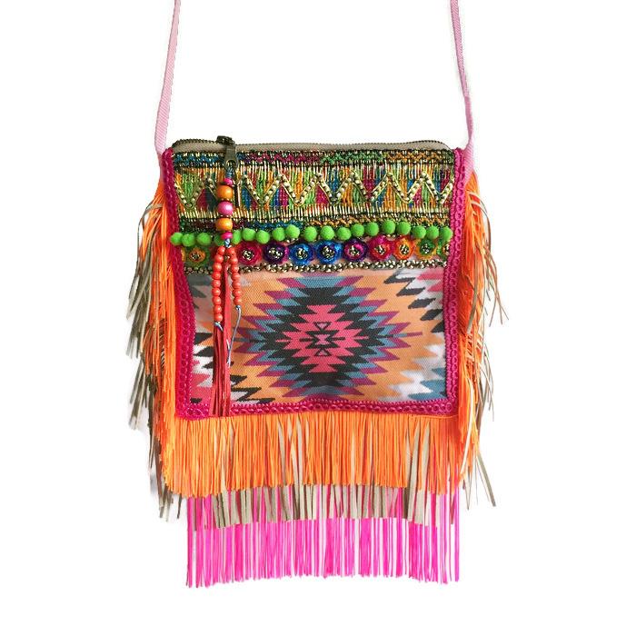 Festivaltasje neon kleuren Navajo print met franje