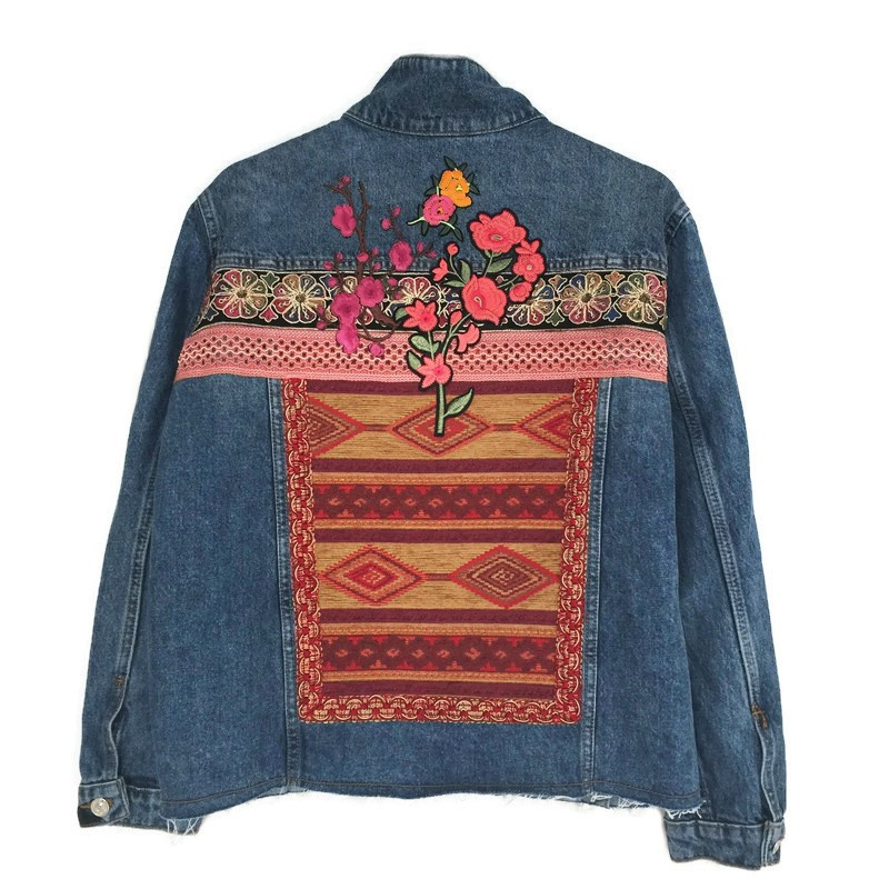Embellished denim jacket Aztec pattern with flower patches