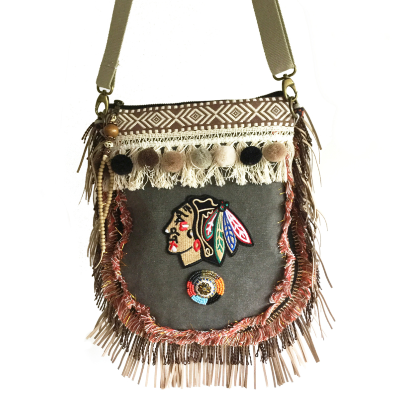 Crossbody Indian head fringes and pompons