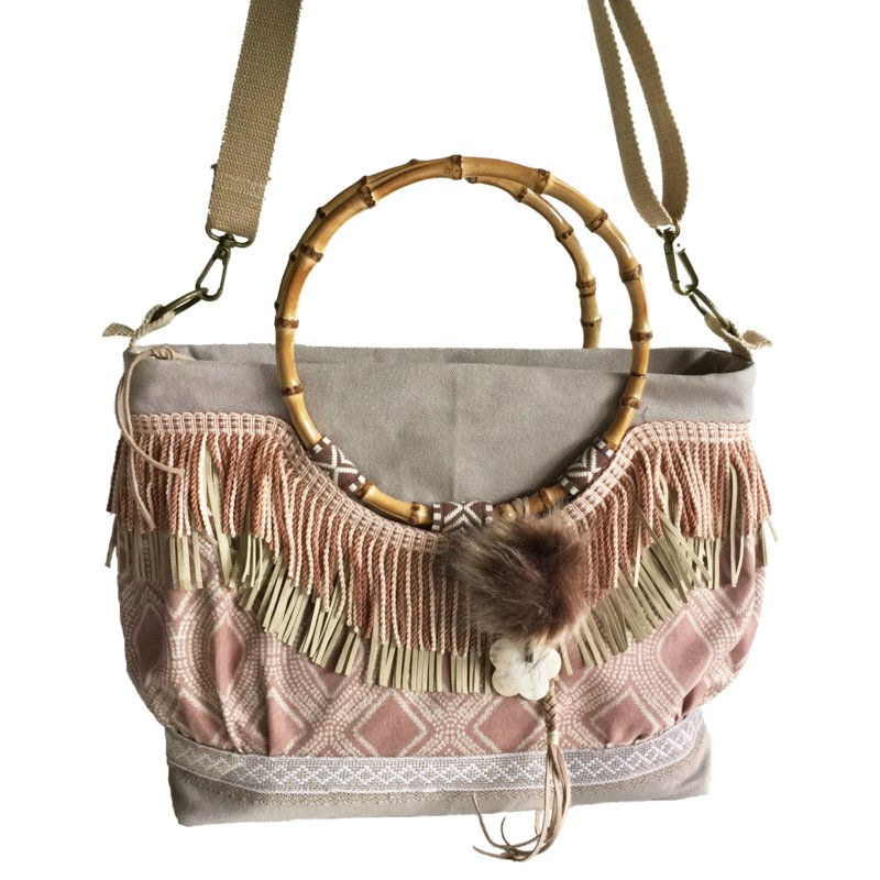 Tote handbag sand old pink with bamboo handles