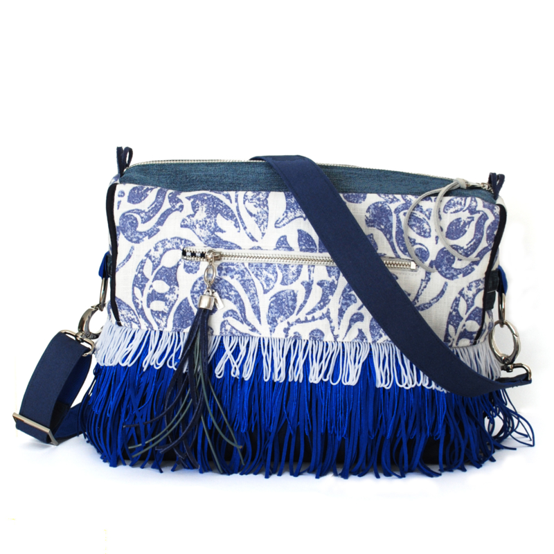 Boho crossbody in blue and white with fringe