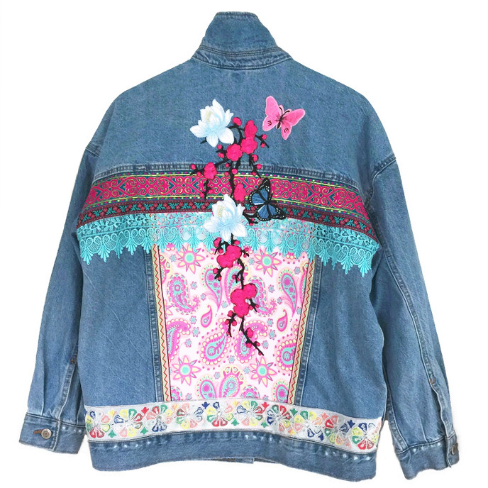 Embellished Ibiza denim jacket with flowers and butterflies