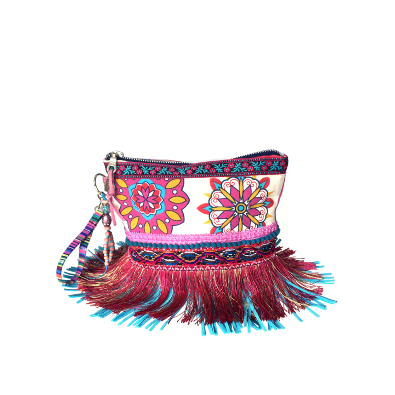 Ibiza pouch bright colored with fringe