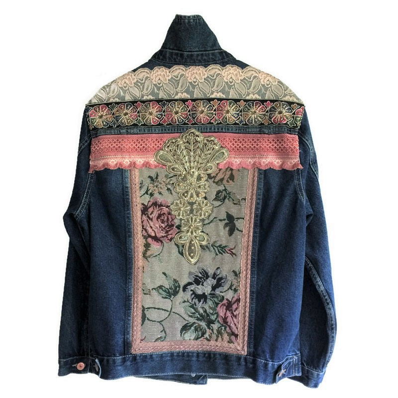 Embellished denim jacket with roses and ornament