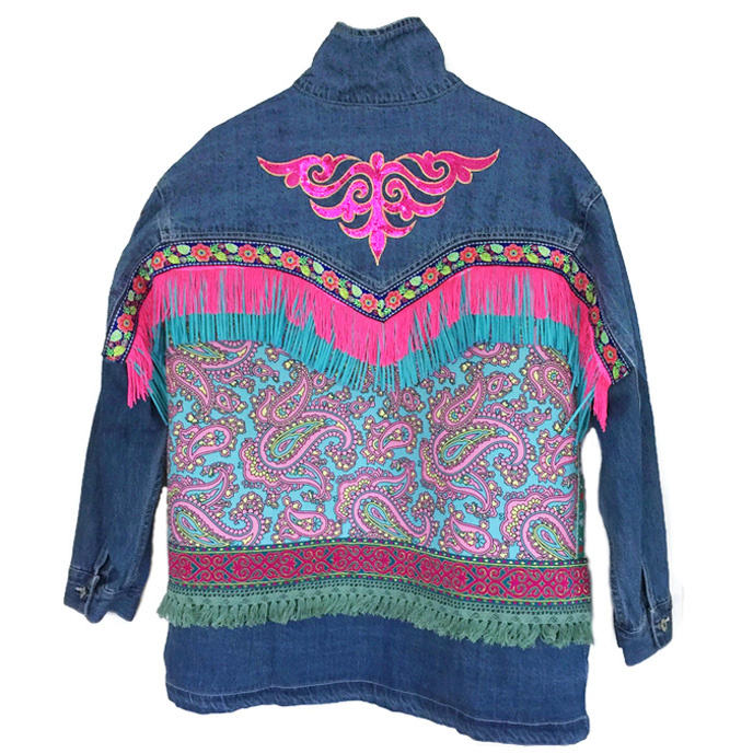 Embellished festival jacket with fringe and ornament