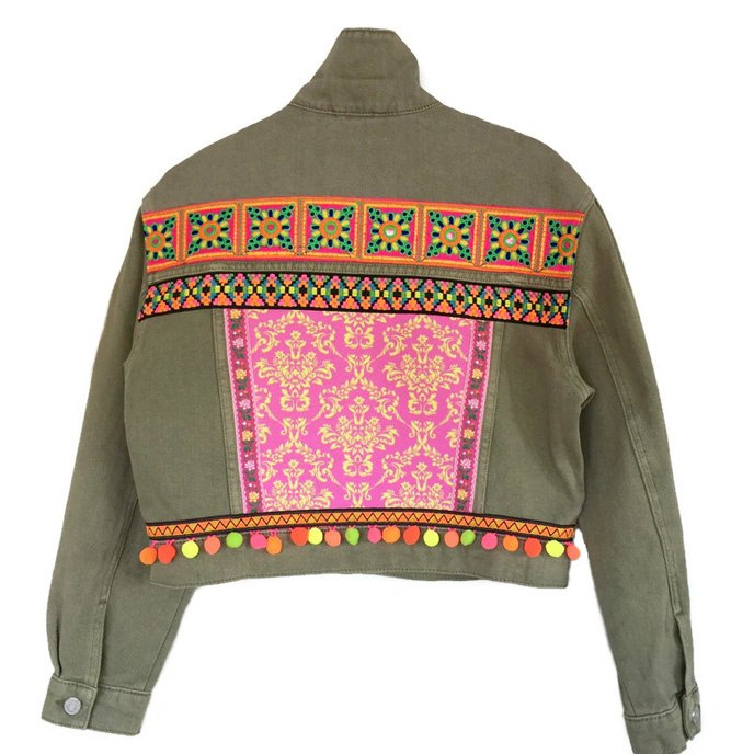Embellished khaki denim jacket with neon colors and pompons